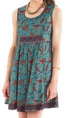 Robe courte d'été sans manches Fashion et Ethnique Katia Turquoise 281104