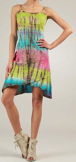 Robe courte d'été Tie and Dye Originale et Colorée Branda Verte 276971