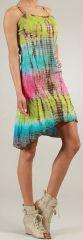 Robe courte d'été Tie and Dye Originale et Colorée Branda Verte 276972