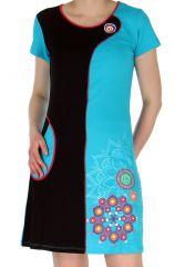 Robe courte d'été Turquoise Originale et Colorée Simply 283123