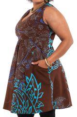 Robe courte d'été XXXL Originale et Colorée Calissa Choco 284326