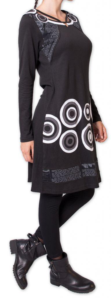 Robe courte d'hiver à Col Original et Ethnique KATANGA Noir 277578