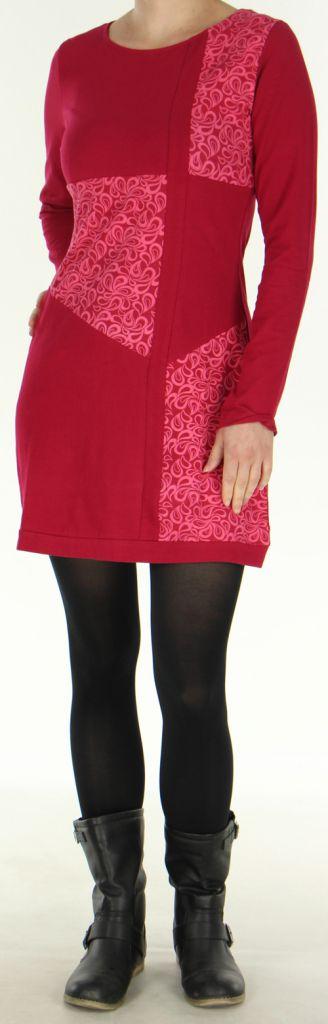Robe courte d'hiver à col rond Colorée et Originale Paula Fushia 277918