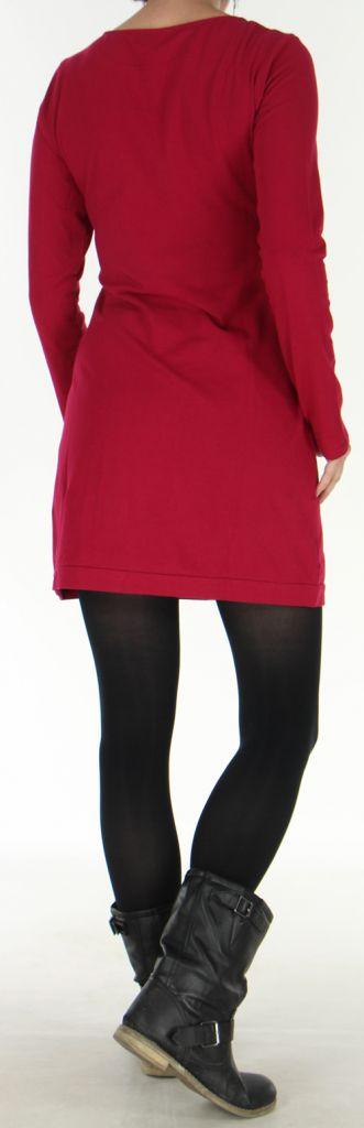 Robe courte d'hiver à col rond Colorée et Originale Paula Fushia 277919