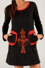 Robe courte d'hiver à col rond Ethnique et Originale Samantha Noire 277895