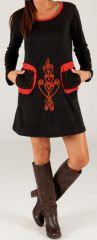 Robe courte d'hiver à col rond Ethnique et Originale Samantha Noire 277896