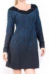 Robe courte d'hiver à manches longues avec un imprimé Mina Bleu 302980