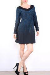 Robe courte d'hiver à manches longues avec un imprimé Mina Bleu 302981