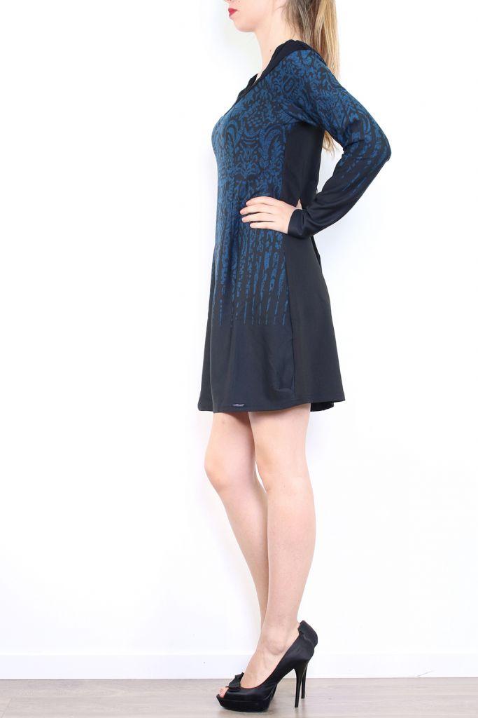 Robe courte d'hiver à manches longues avec un imprimé Mina Bleu 302982
