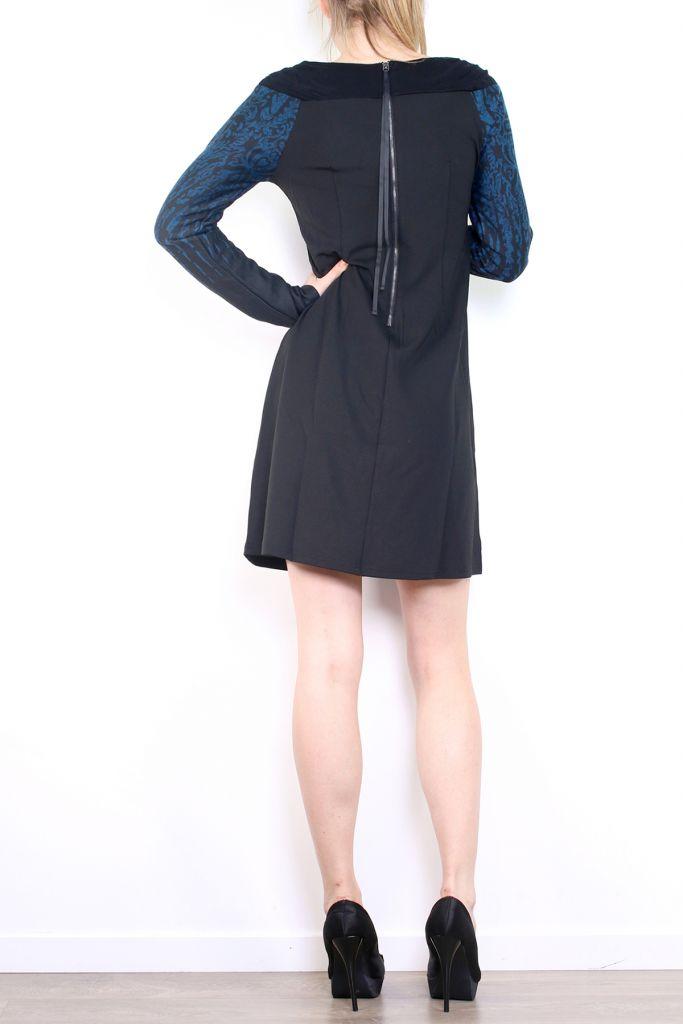Robe courte d'hiver à manches longues avec un imprimé Mina Bleu 302983