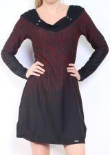 Robe courte d'hiver à manches longues avec un imprimé Mina Bordeaux 302976