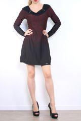 Robe courte d'hiver à manches longues avec un imprimé Mina Bordeaux 302977