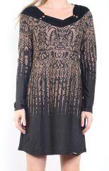 Robe courte d'hiver à manches longues avec un imprimé Mina Taupe 302984