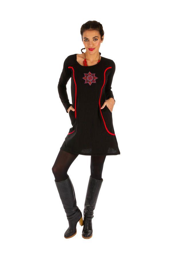 Robe courte d'hiver à poches et manches longues Lékoni 312711