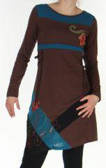 Robe courte d'Hiver Asymétrique et Originale Vérane Chocolat 276455