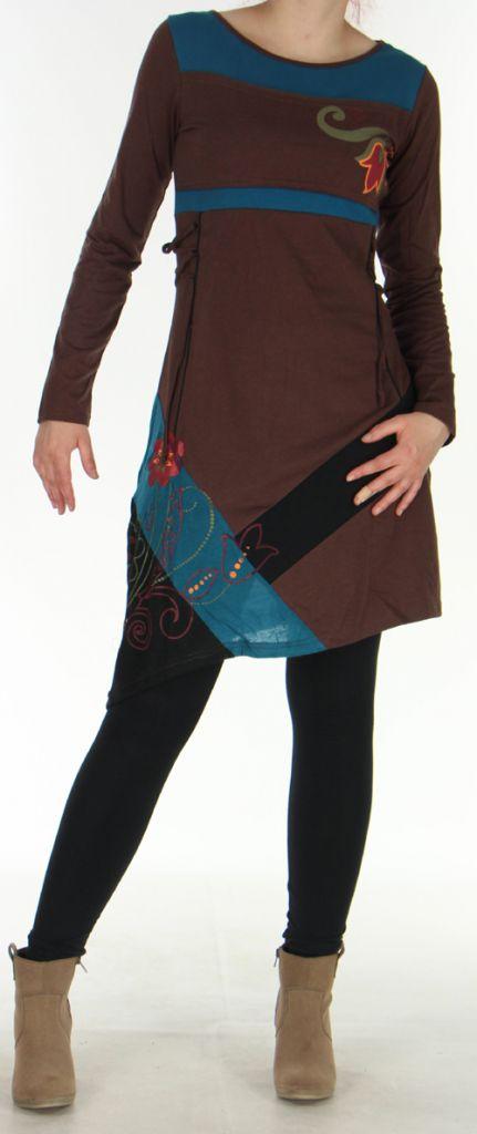 Robe courte d'Hiver Asymétrique et Originale Vérane Chocolat 276456