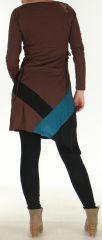 Robe courte d'Hiver Asymétrique et Originale Vérane Chocolat 276457