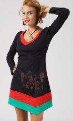 Robe courte d'hiver asymétrique noire et colorée Georgia 315002