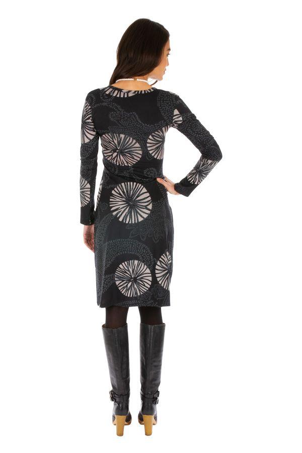 Robe courte d'hiver au charmant col en V et imprimée Baya 312681