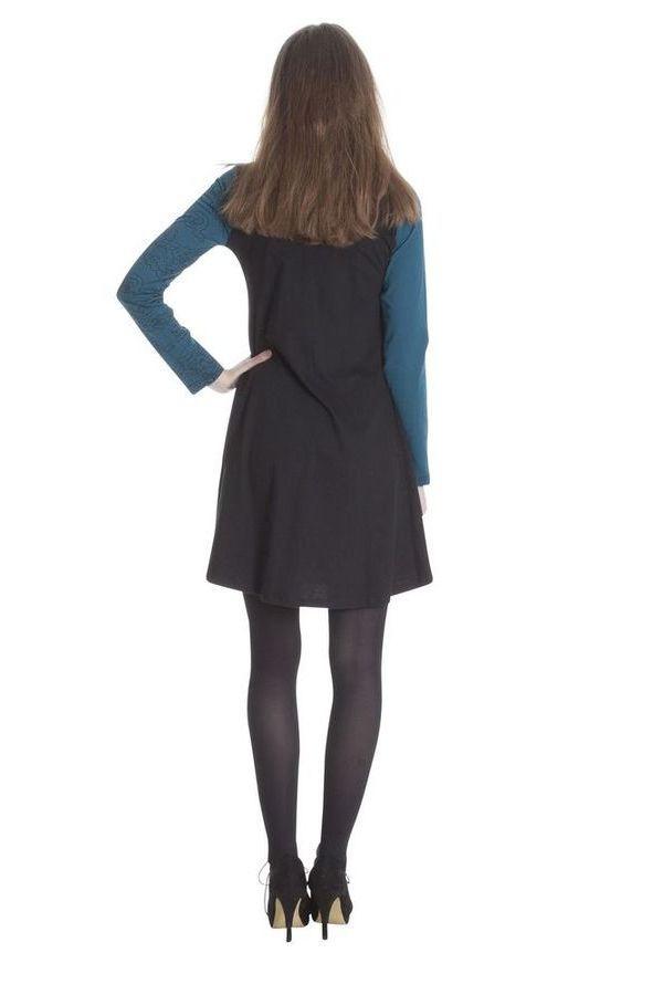 robe courte d 39 hiver bleue ethnique et imprim e alison. Black Bedroom Furniture Sets. Home Design Ideas