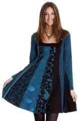 Robe courte d'hiver Bleue Ethnique et Imprimée Alison 286823