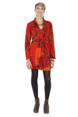 Robe courte d'hiver Chic et Ethnique Ticali Rouge 285447