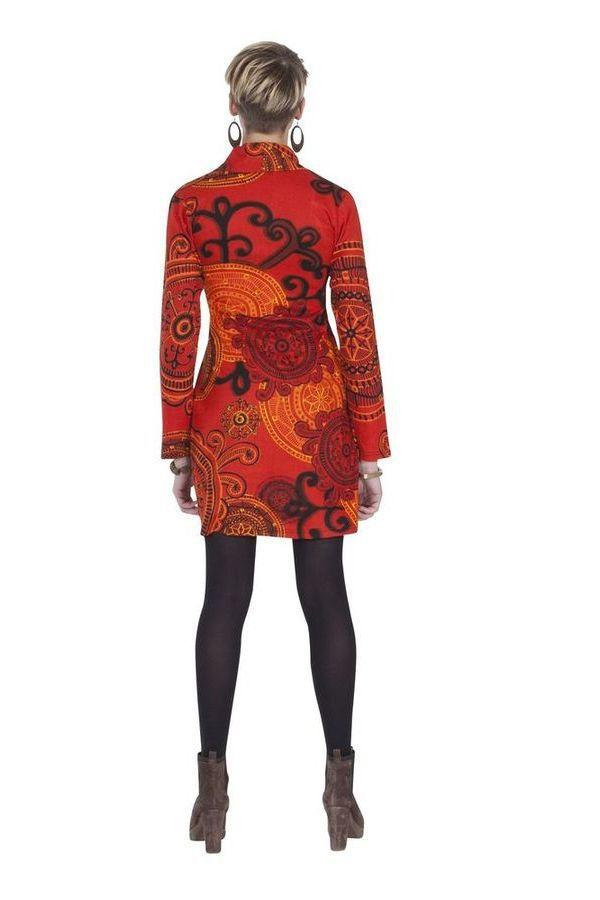 Robe courte d'hiver Chic et Ethnique Ticali Rouge 285448