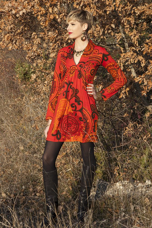robe courte hiver chic ethnique rouge. Black Bedroom Furniture Sets. Home Design Ideas