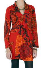Robe courte d'hiver Chic et Ethnique Ticali Rouge 287218