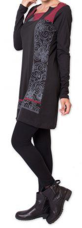 Robe courte d'hiver Elégante et Ethnique Euphrase Noire 275697