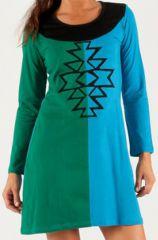 Robe courte d'hiver Ethnique et Colorée Apolline Verte et Bleue 279677