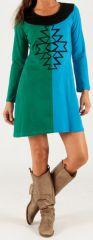Robe courte d'hiver Ethnique et Colorée Apolline Verte et Bleue 279678