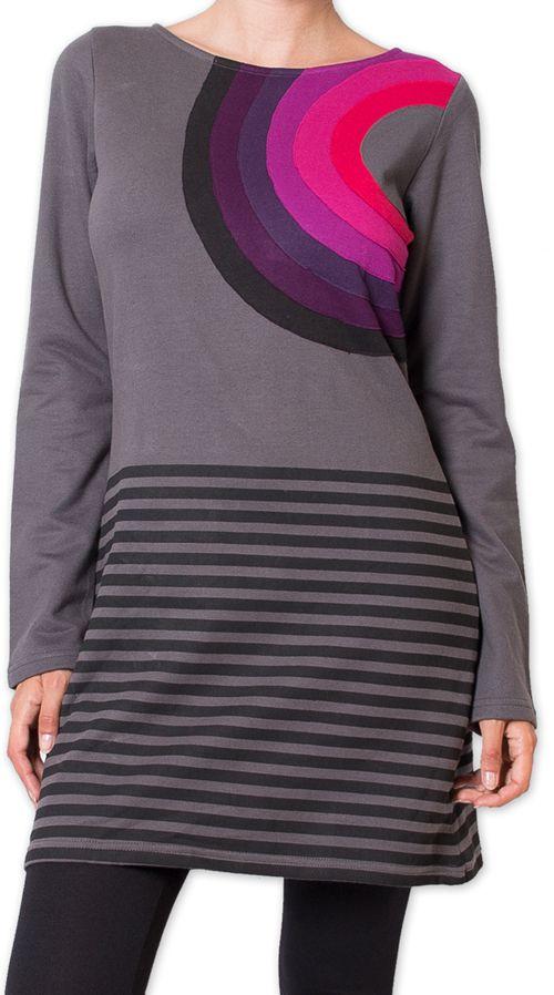 Robe courte d'Hiver Ethnique et Colorée Porana Grise 275987