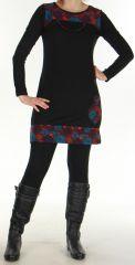 Robe courte d'hiver Ethnique et Colorée Telma Noire 276375