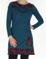 Robe courte d'hiver Ethnique et Colorée Telma Pétrole 276368
