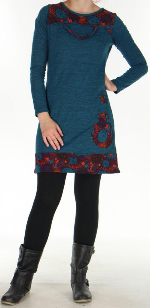 Robe courte d'hiver Ethnique et Colorée Telma Pétrole 276369
