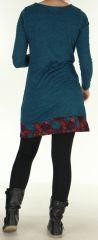 Robe courte d'hiver Ethnique et Colorée Telma Pétrole 276370