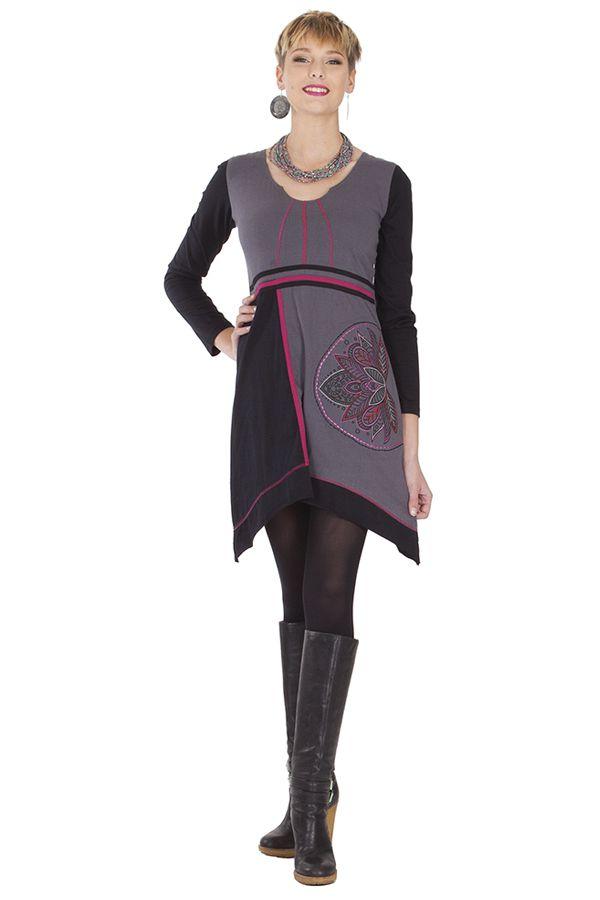 Robe courte d'hiver Ethnique et Féminine Najma Grise et Noire 285303