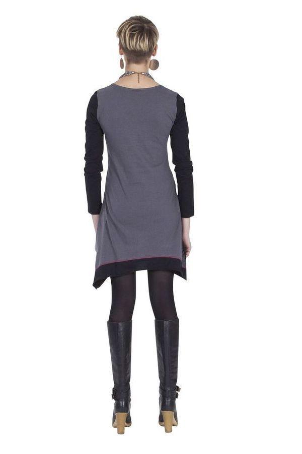 Robe courte d'hiver Ethnique et Féminine Najma Grise et Noire 285305