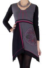 Robe courte d'hiver Ethnique et Féminine Najma Grise et Noire 286668