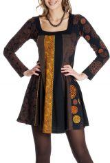 Robe courte d'hiver Ethnique et Imprimée Alison Chocolat 286822