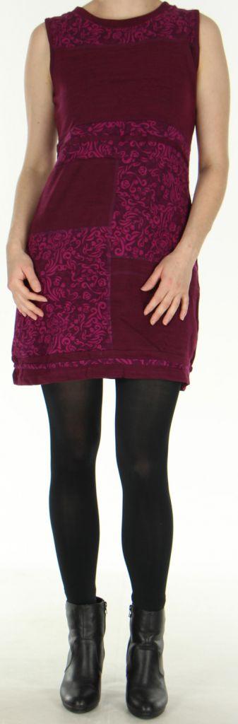 Robe courte d'hiver Ethnique et Imprimée sans manches Baya Framboise 278795