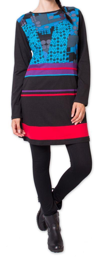 Robe courte d'hiver Originale et Colorée Makenzie Noire 275841