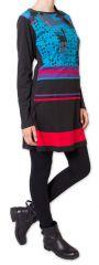 Robe courte d'hiver Originale et Colorée Makenzie Noire 275842