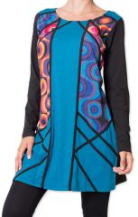 Robe courte d'Hiver Originale et Colorée Pomaka Bleue 276015