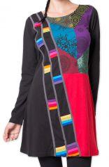 Robe courte d'hiver Originale et Colorée Tammise Noire 27900