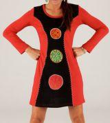 Robe courte d'hiver Rouge et Noire à manches longues Lipari 279726