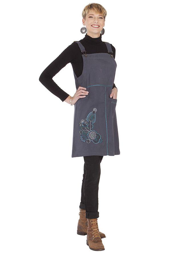 Robe courte d'Inde style salopette Originale Grise Lison 285693