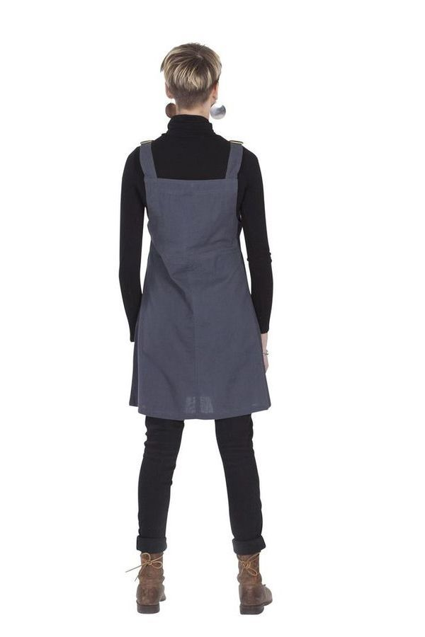 Robe courte d'Inde style salopette Originale Grise Lison 285694