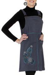 Robe courte d'Inde style salopette Originale Grise Lison 286817